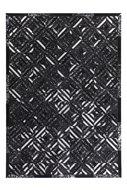 Lederen-vloerkleed-Denise-Zwart-met-metaalfolie